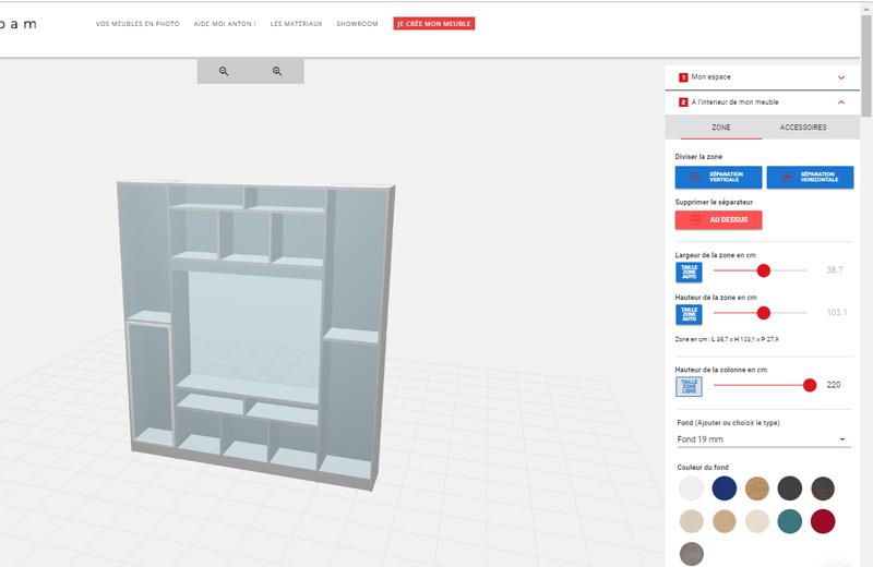 outil 3D de conception de mobilier sur mesure