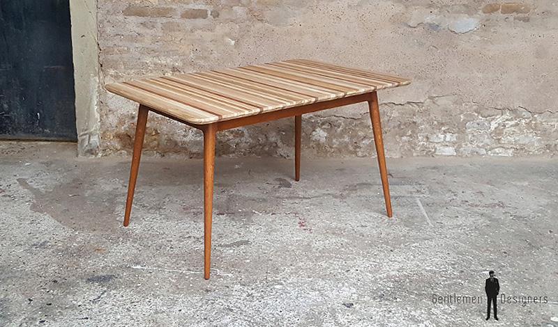 meuble sur mesure table faite avec des chutes de bois