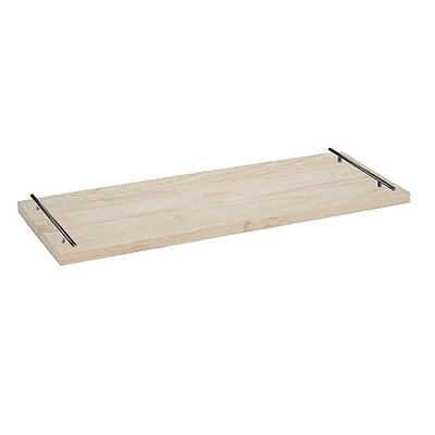 plateau fait avec une ancienne planche et deux poignées de meubles