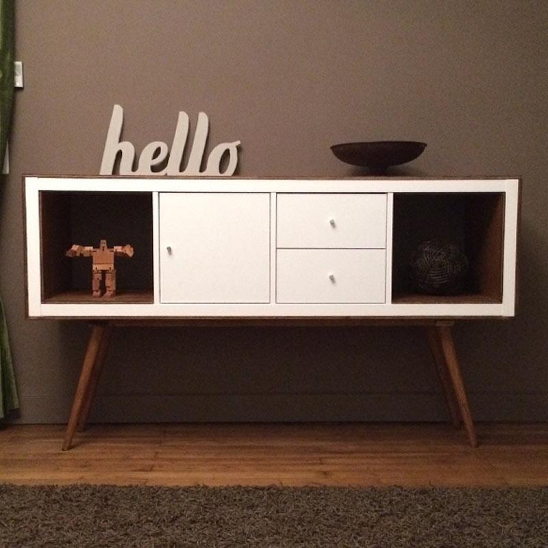 etagere billy transforme en meuble annees 50 : ikea hack