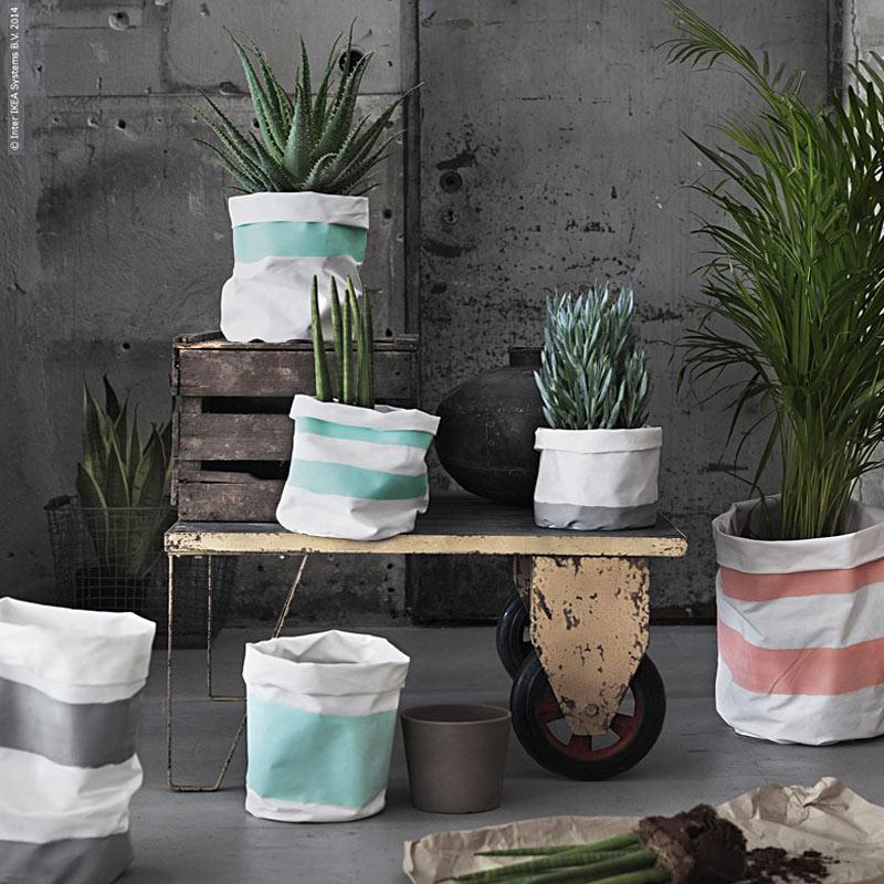 pots de fleurs en textiles ikea hack