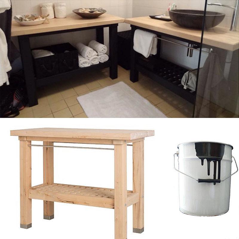 etabli de cuisine ikea transforme en meuble salle de bains