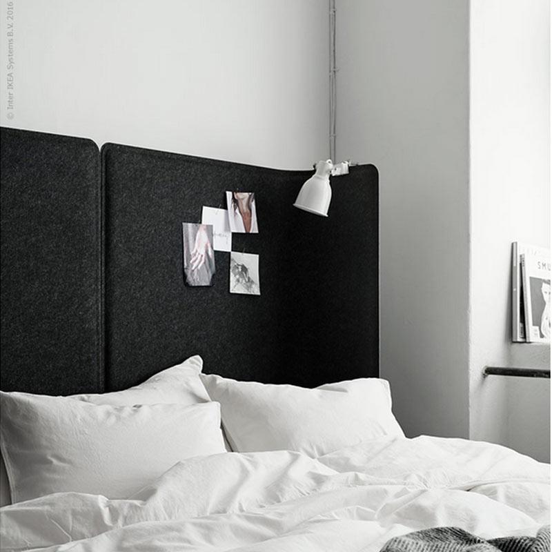 ikea hack : tete de lit faite avec un separateur de bureau