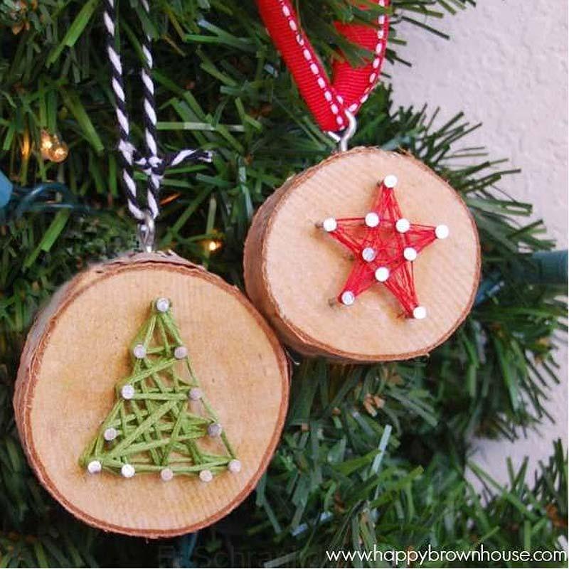 rondin de bois en decoration de noel