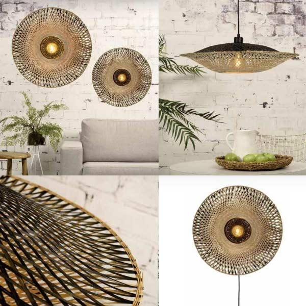 luminaires eco-responsables: applique et suspension en bambou tresse